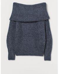 H&M Off-the-shouldertrui - Blauw