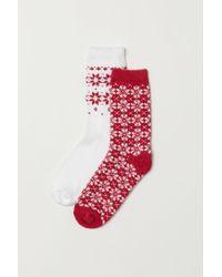 H&M 2-pack Chenille Socks - Red