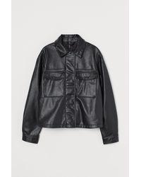 H&M Cropped Faux Leather Jacket - Black