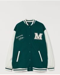 H&M Block-coloured Baseball Jacket - Green