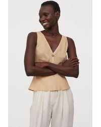 H&M V-neck Linen Blouse - Natural