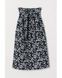 H&M Jacquard-weave Paper Bag Skirt - Black