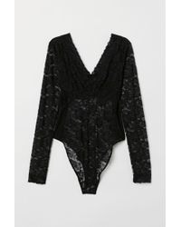 H&M Long-sleeved Lace Body - Black