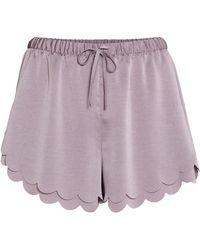 H&M Scallop-hem Shorts - Purple