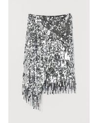H&M - Sequined Wrapover Skirt - Lyst