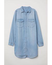 H&M Lange Jeansbluse - Blau
