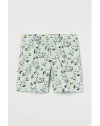 H&M Patterned Cotton Shorts - Green