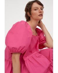 H&M Puff-sleeved Dress - Pink