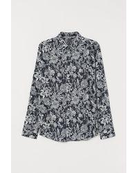 H&M Gemustertes Hemd Slim Fit - Blau