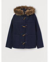 H&M Duffle Coat With Faux Fur - Blue