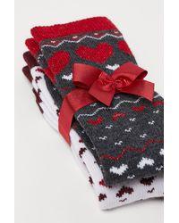 H&M 2er-Pack Socken - Grau