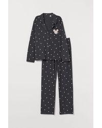 H&M Pyjama Shirt And Bottoms - Gray