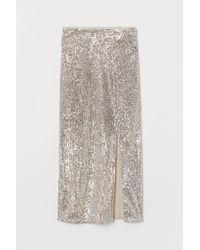 H&M Slit-front Sequined Skirt - Metallic