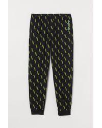 H&M Gemusterte Pyjamahose - Schwarz