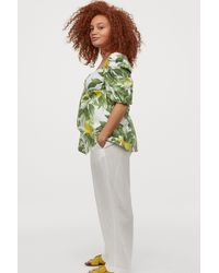 H&M Mama Wide Linen-blend Pants - White