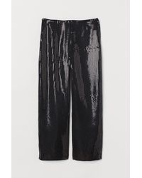 H&M Wide Pants With Sequins - Black