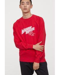 H&M Flock-print Sweatshirt - Red