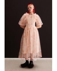 H&M Puff-sleeved Tulle Dress - Multicolor