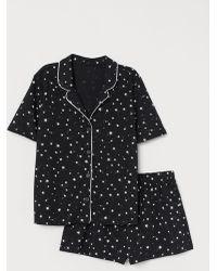 H&M Pyjama Shirt And Shorts - Black