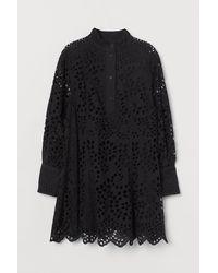 H&M - Kleid mit Broderie Anglaise - Lyst