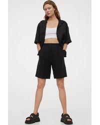 H&M Linen-blend Bermuda Shorts - Black