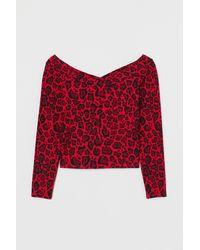 H&M Off-Shoulder-Shirt - Rot