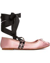 H&M Lace-up Ballet Court Shoes - Pink