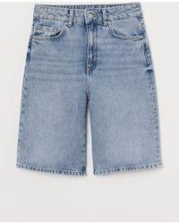 H&M Wide High Waist Shorts - Blue