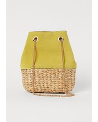 H&M Bucket Bag With Suede Details - Yellow