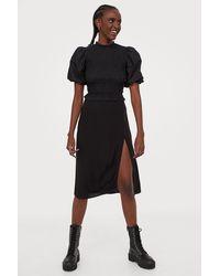 H&M High-split Skirt - Black