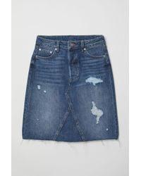 H&M - Jupe en jean de longueur genou - Lyst