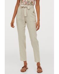 H&M Linen-blend Pants - Natural