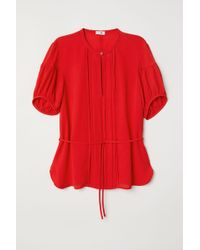 0c9efe14d752bd H M - Puff-sleeved Blouse - Lyst