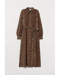 H&M Blusenkleid mit Bindegürtel - Natur