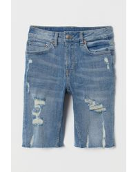 H&M Knee-length Denim Shorts - Blue