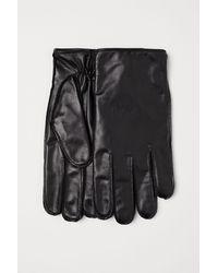 H&M Leder-Smartphonehandschuhe - Schwarz