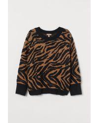 H&M H & M+ Jacquard-knit Sweater - Natural