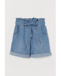 H&M Denim Paper Bag Shorts - Blue