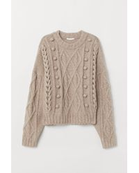 H&M Pullover mit Zopfmuster - Natur