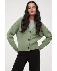 H&M Rib-knit Cardigan - Green