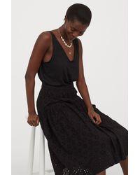 H&M Eyelet Embroidery Skirt - Black