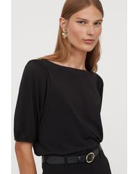 H&M Puff-sleeved Boat-neck Top - Black