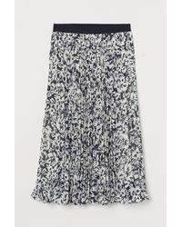 H&M Pleated Chiffon Skirt - Blue