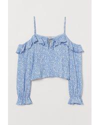 H&M Cold-shoulderblouse Met Dessin - Blauw