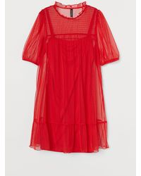 H&M Puff-sleeved Dress - Red