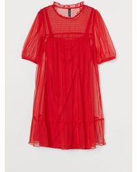 H&M Kleid mit Puffärmeln - Rot