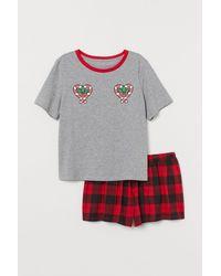 H&M Schlafshirt und Shorts - Grau