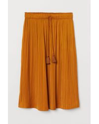 H&M Pleated Satin Skirt - Yellow