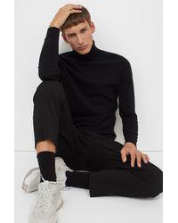 H&M Fine-knit Polo-neck Sweater - Black