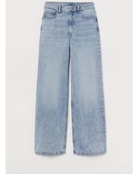 H&M Wide High Jeans - Bleu